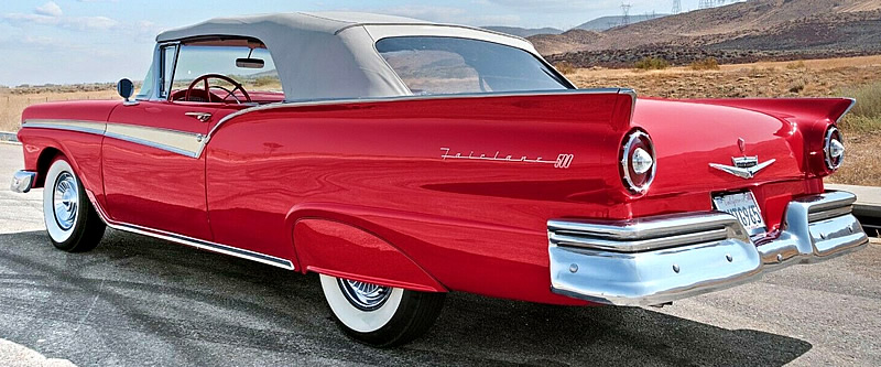 rear view of a 1957 Ford Sunliner convertible with the top up