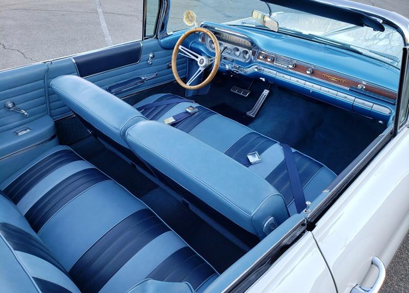 Blue interior of a 60 Pontiac Bonneville convertible