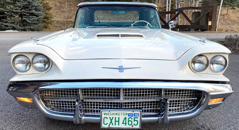 Front view of a 1960 Thunderbird in white