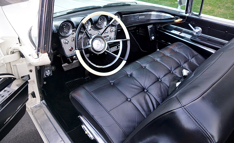 Luxurious leather interior of the1960 Lincoln Continental