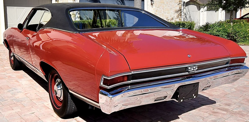rear view of a red 68 Chevy Chevelle SS396