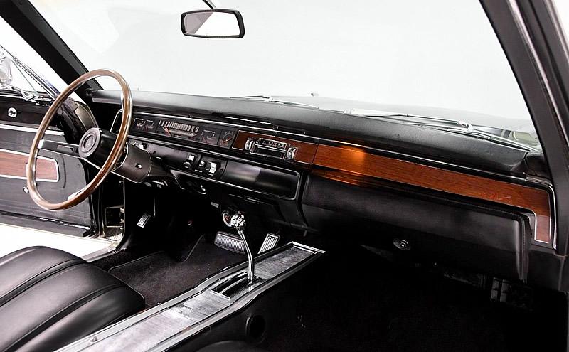 black vinyl bucket seat interior of the 1968 Plymouth GTX