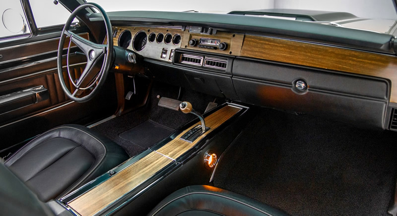 bucket seat interior of a 70 Plymouth GTX