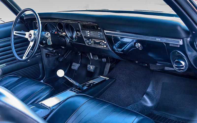 Interior shot of a 69 Chevy Chevelle SS