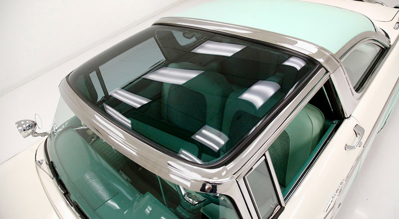 tinted transparent roof over the driver's compartment - 56 Ford Skyliner