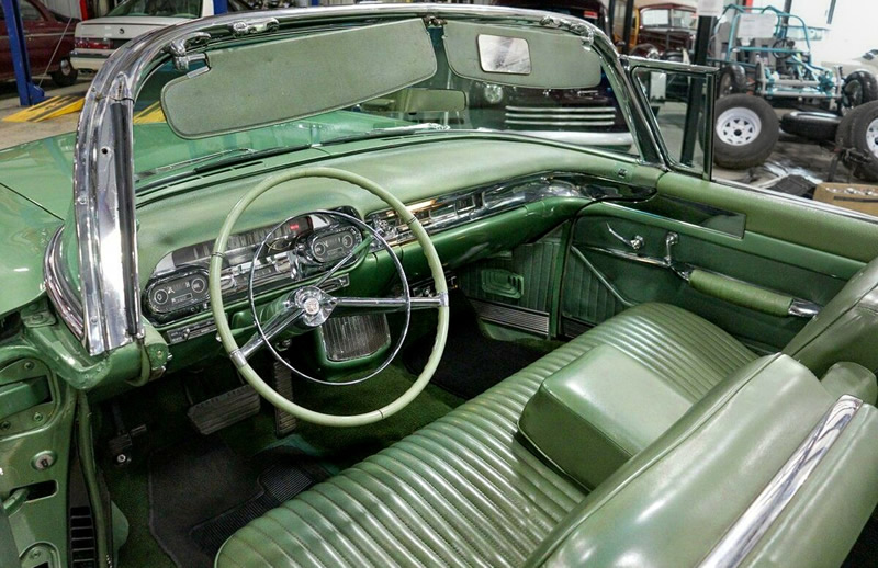 Luxurious olive green Interior of a 1957 Cadillac Eldorado Biarritz