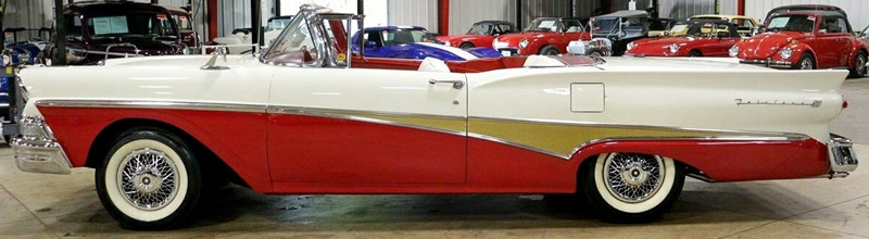 side view of a 58 Ford Skyliner with the top down
