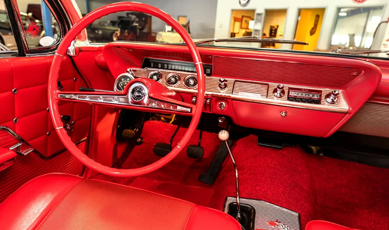 instrument panel view inside a 62 Impala SS