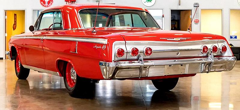 Rear view of the 62 Chevy Impala showing the distinctive taillights