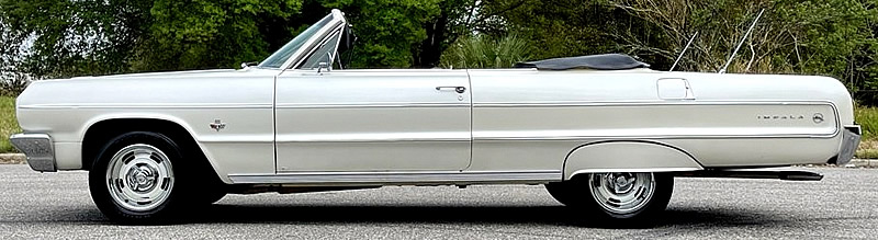 Side view of a 1964 Chevy Impala Convertible