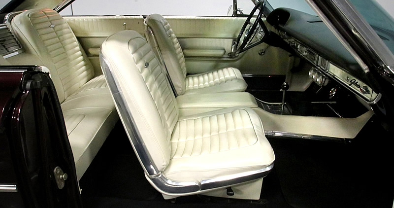 bucket seat vinyl interior of a 64 Galaxie 500XL