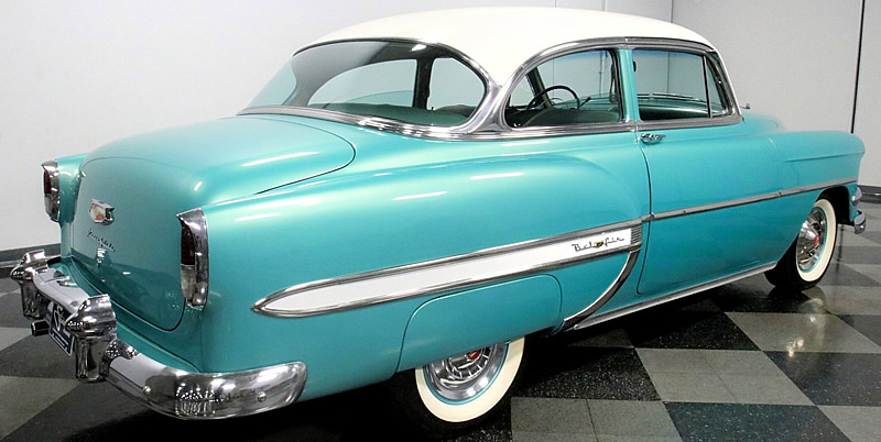 rear view of a beautiful 1954 Chevy Bel Air 2-door sedan