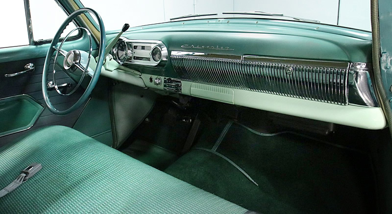 lovely interior of a 54 Chevy Bel Air