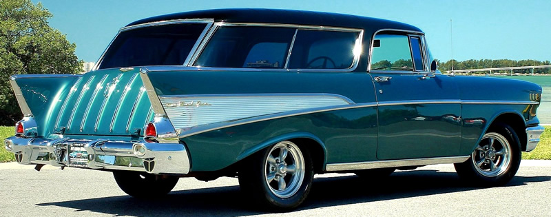 Rear view of a 1957 Chevy Nomad