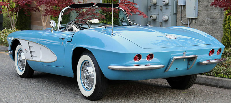 The ducktail rear of a 1961 Corvette