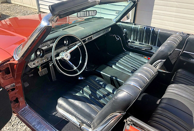 Beautiful bucket seat interior of a 1963 Galaxie 500XL convertible