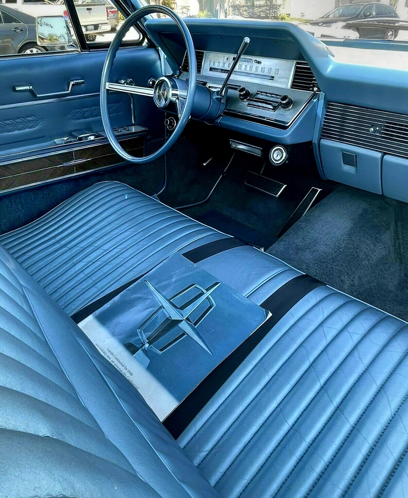 Leather interior with smart instrument panel in a 66 Lincoln Continental