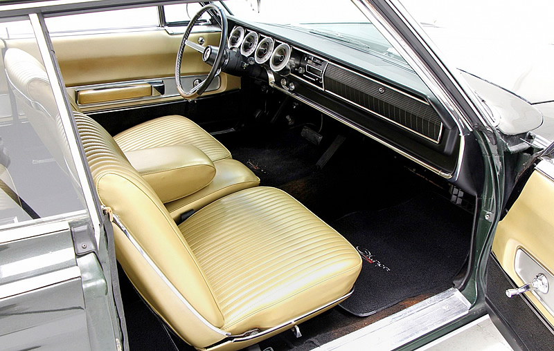 All-vinyl bucket seats inside a 67 Charger