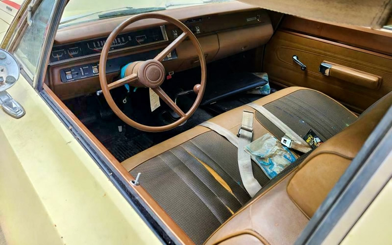 Bench seat interior of a 1969 Road Runner by Plymouth - just out of storage