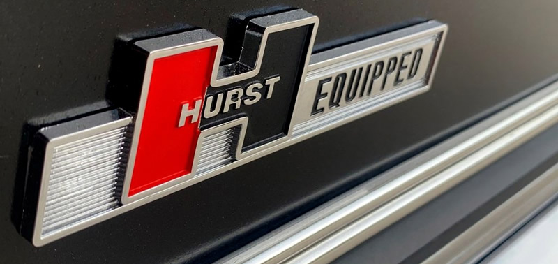 Hurst Equipped badge on the rer of a 67 Chevelle