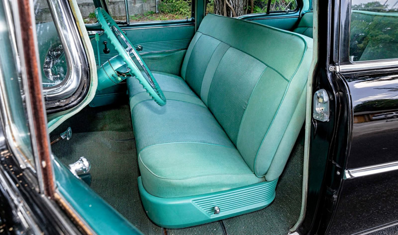 original two-tone green interior of a 1955 Oldsmobile Ninety-Eight