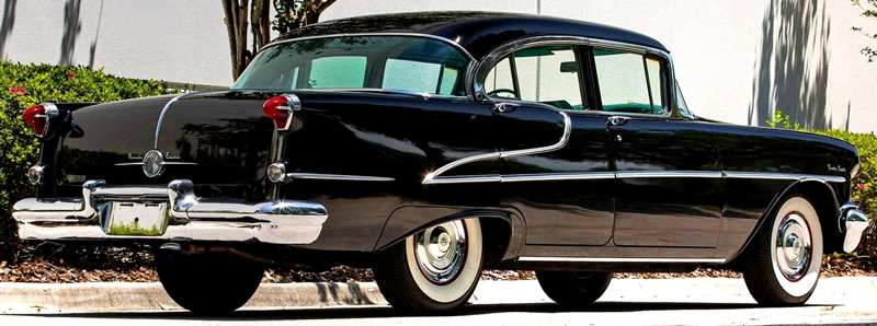 rear view of a 1955 Oldsmobile 98