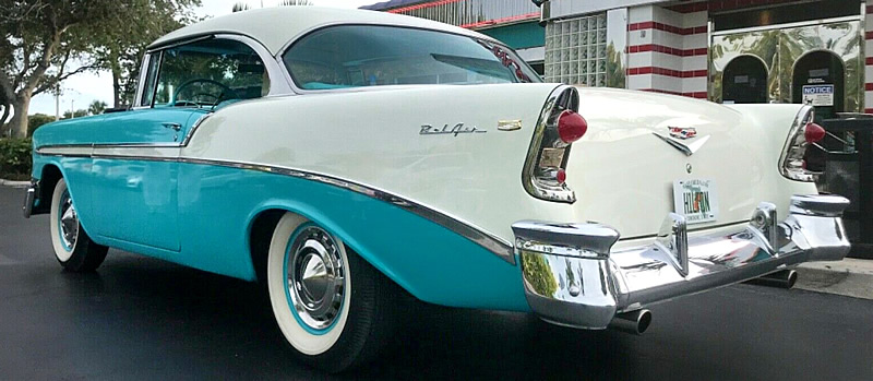 rear view of a 56 Chevy Bel Air