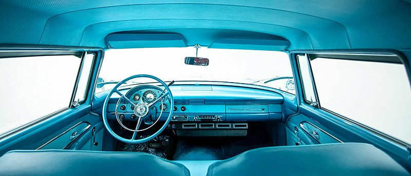 view of the instrument panel / dash in a 56 Parklane