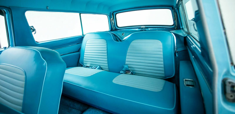 two-tone interior showing the back seats of a 56 Ford Parklane station wagon