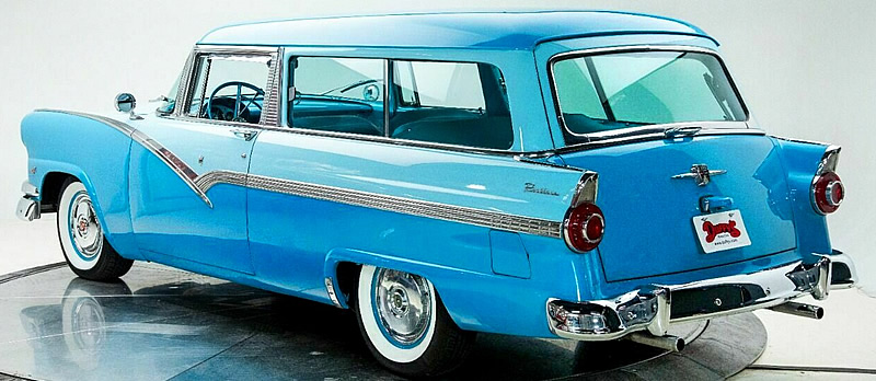 Rear view of a two tone blue 1956 Ford Parklane