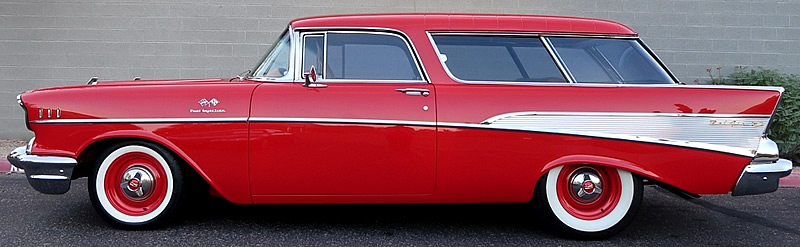 side view of a 57 Chevrolet Nomad