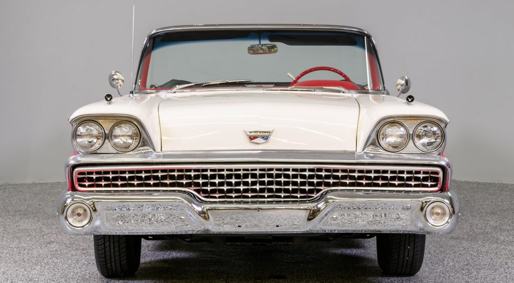 Front view of a 1959 Ford Galaxie Sunliner convertible
