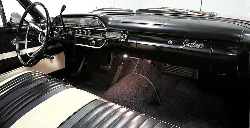 all-vinyl interior of a 1961 Sunliner