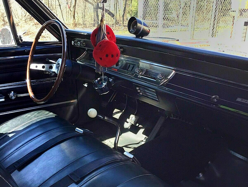bench seat vinyl interior of a 66 Chevy Chevelle convertible SS 396