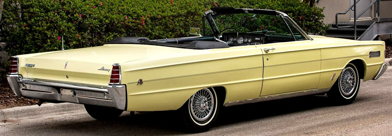 rear view of a 1966 Mercury S-55 convertible with the top down