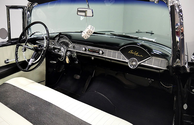 Ivory and Charcoal Gray interior of a 56 Chevy Bel Air