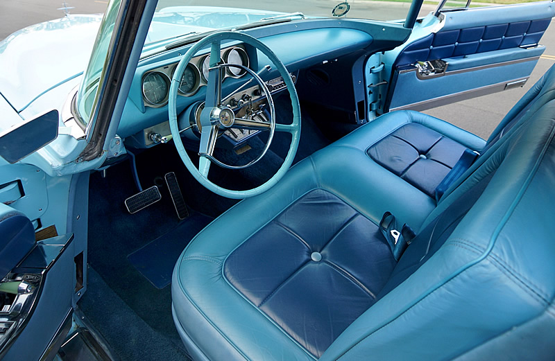 stunning two-tone blue leather interior in a 1957 Mark II Continental