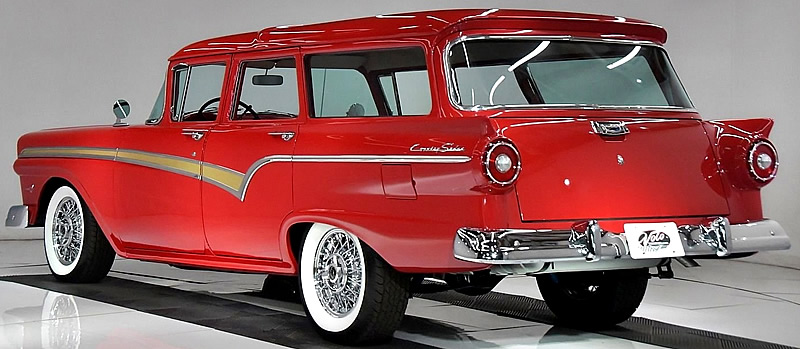 57 Ford Country Sedan Station Wagon rear view