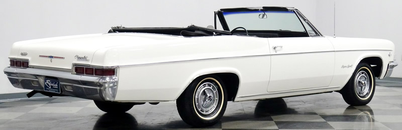 rear view of a 1966 Chevrolet Impala SS convertible with the top down