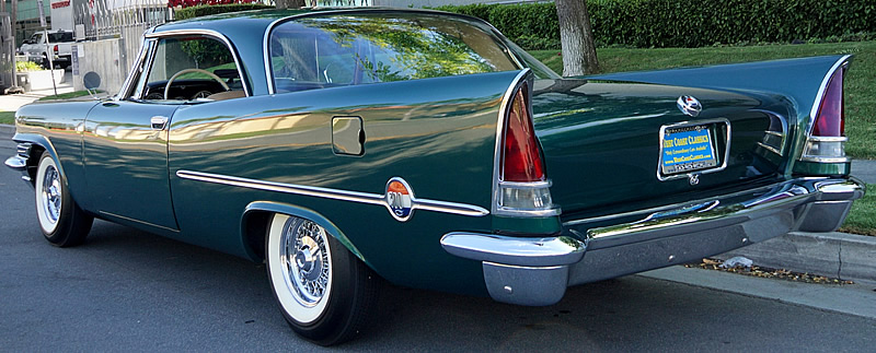 rear view of a 57 Chrysler 300 C showing the giant fins