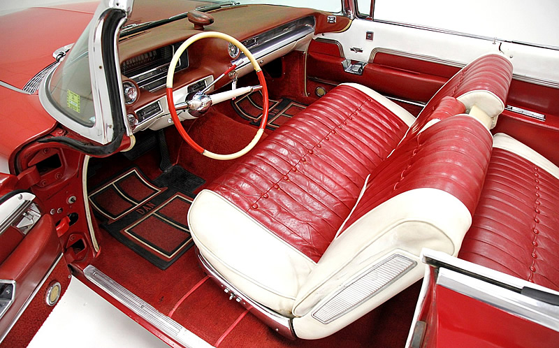 the luxurious leather interior of a 1959 Cadillac Convertible