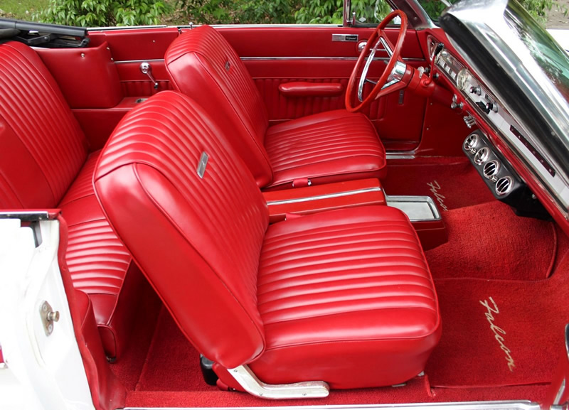 red vinyl interior of a 65 Ford Falcon Convertible