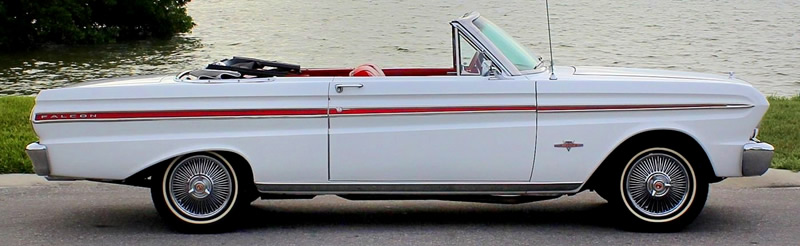 side view of a 1965 Falcon convertible with the top down.