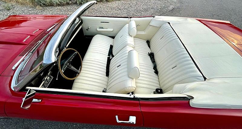 Lovely white vinyl interior of a 69 Ford Torino convertible