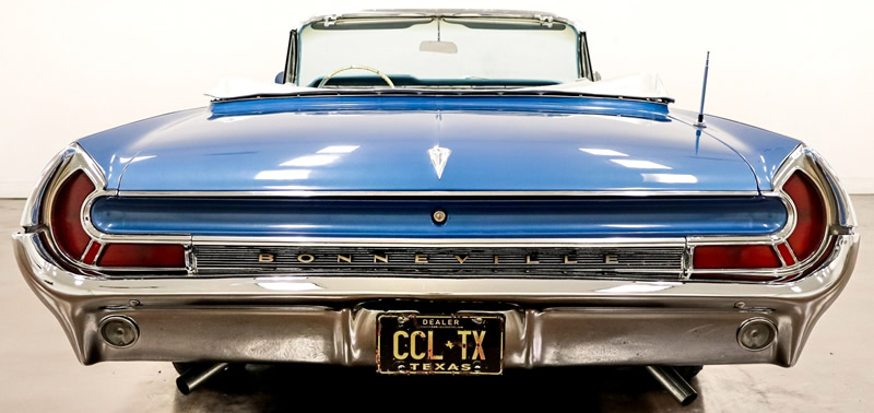 rear view of the 1962 Pontiac Bonneville  convertible with the top down.